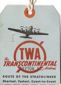 Here's a memento from TWA. A baggage tag from the days when air travel had a bit charm, glamour and panache.
